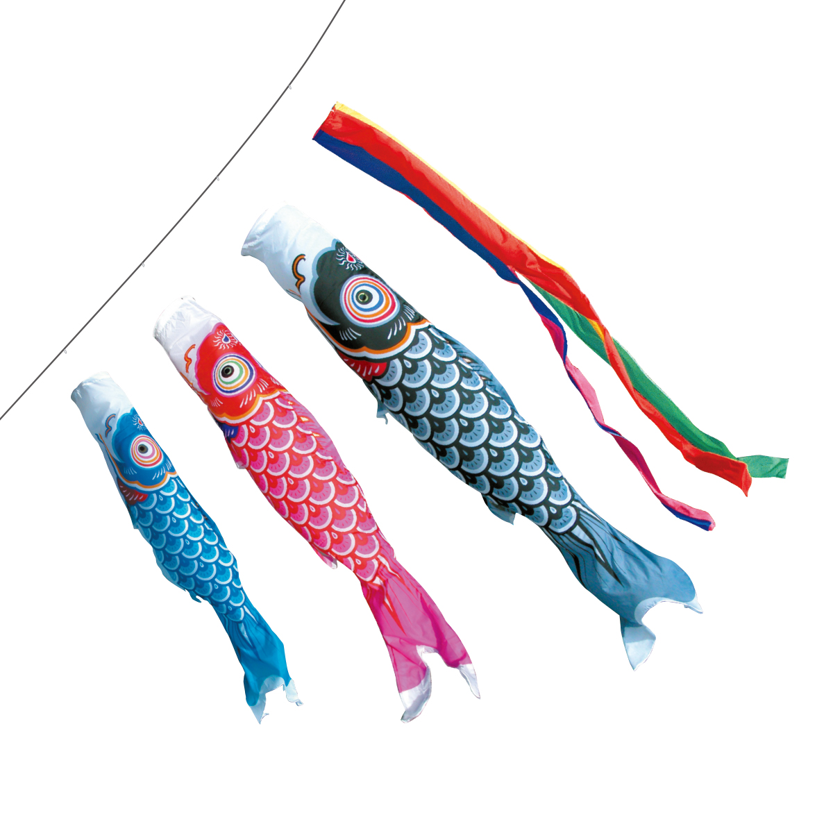 【エントリーでP10倍】友禅ファミリーベランダ 1mセット(こいのぼりベランダ)(徳永鯉)鯉のぼり 鯉幟
