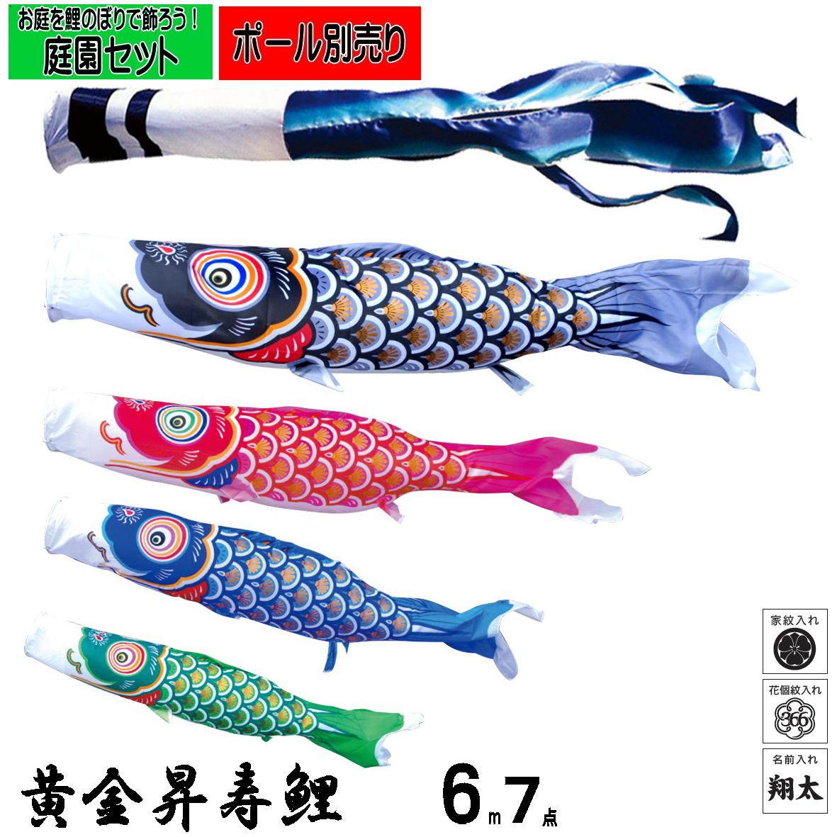 庭園用 こいのぼり黄金昇寿鯉 6m7点セット鯉のぼり 鯉幟
