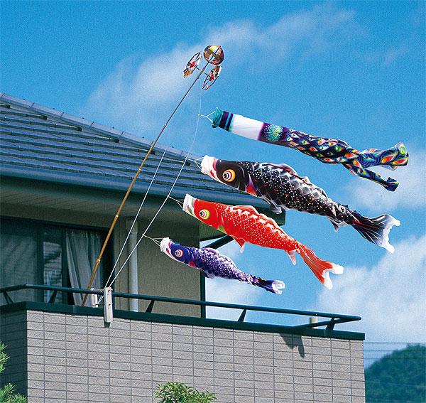 【子守唄CDプレゼント】星歌スパンコール鯉 スーパーロイヤル1.5mセット(ベランダこいのぼり)鯉のぼり 鯉幟