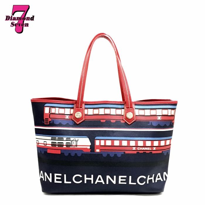 【送料無料】【中古】 シャネル CHANEL セントラルステーション トートバッグ PVC ネイビー/レッド レディース シルバー金具