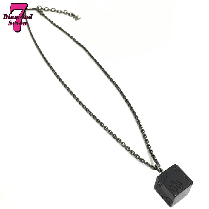 【送料無料】【中古】CHANEL シャネル ココマーク カメリア キューブ ネックレス ブラック