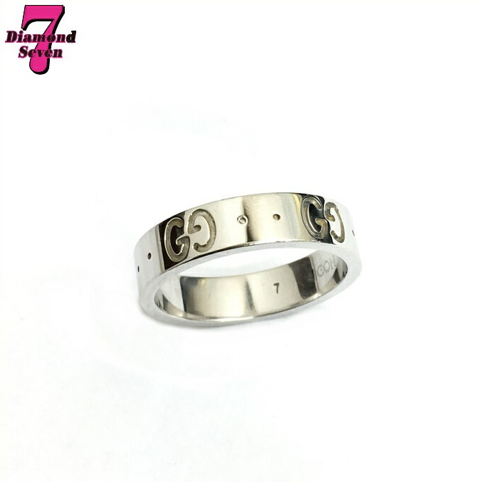 【送料無料】【中古】 GUCCI グッチ アイコンリング K18WG リング レディース 指輪 ホワイトゴールド 約6.5号