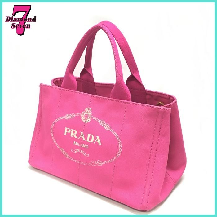 【送料無料】【中古】プラダ 2WAYトートバッグ キャンバス カナパ BN2642 PRADA ピンク レディース