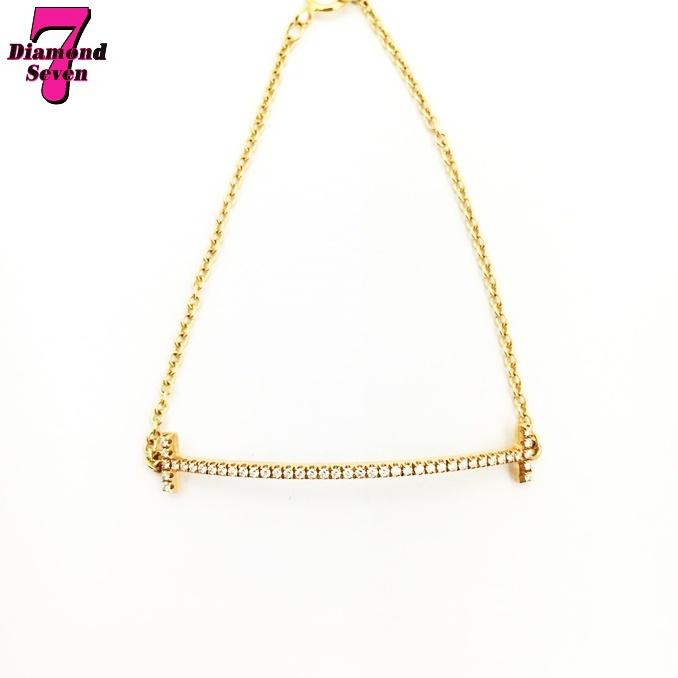 【送料無料】【美品】【中古】ティファニー Tiffany&Co. Tスマイル ブレスレット ダイヤモンド ブランドジュエリー レディース K18PG(750) ピンクゴールド ダイヤモンド