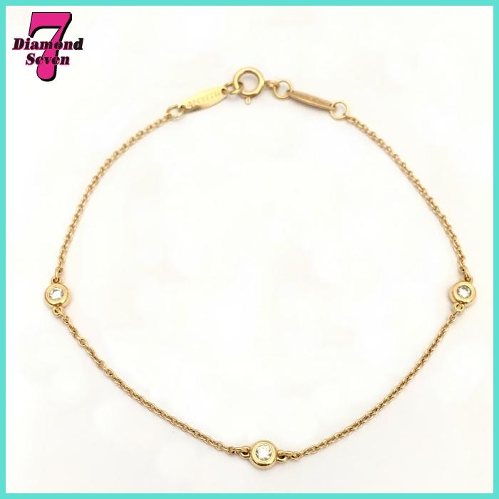 【送料無料】【美品】【中古】ティファニー Tiffany&Co. バイザヤードブレス 3Pダイヤモンド ブランドジュエリー レディース K18PG(750) ピンクゴールド ダイヤモンド