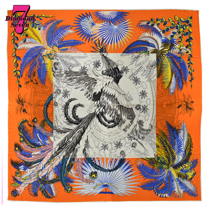 【送料無料】【未使用】HERMES カレ140 カレ140 不死鳥の神話・コロリアージュ Mythiques Phoenix Coloriage 2018秋冬 レディース オレンジ カシミア ショール スカーフ H243015S10 エルメス *k932*