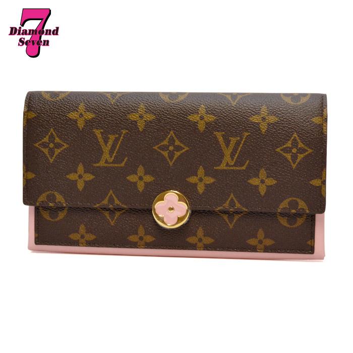 【未使用】Louis Vuitton ポルトフォイユ フロール モノグラム カーフレザー ローズバレリーヌ M64586 レディース *k932*