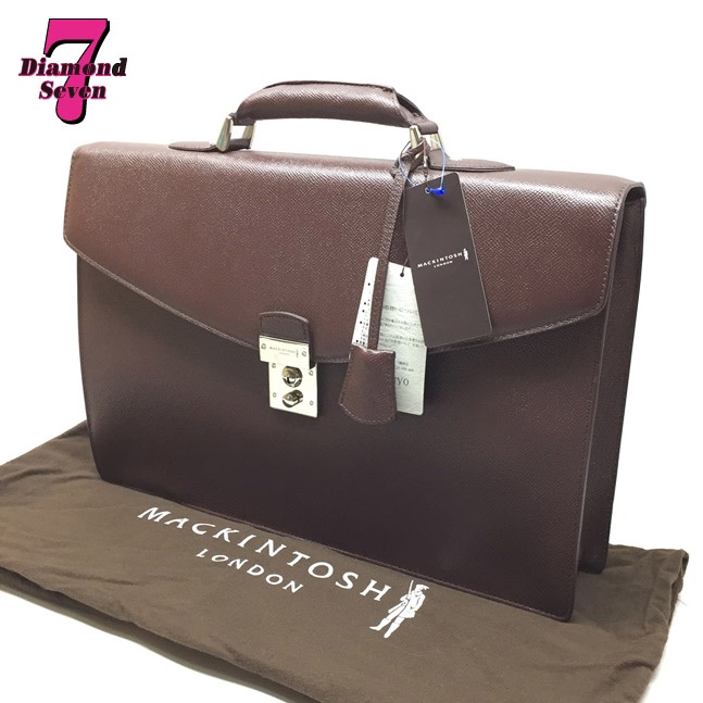 送料無料【未使用】MACKINTOSH マッキントッシュ ロンドン ビジネスバッグ ブリーフケース ブラウン レザー 男性バッグ 書類 ビジネス メンズ プレゼント G1103-200-36