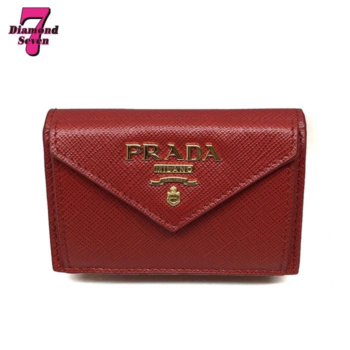 送料無料【未使用】PRADA プラダ サフィアーノメタル SAFFIANO METAL 三つ折り財布 コンパクト財布 レッド 赤 レディース ミニ財布 プレゼント 1MH021 QWA F068Z