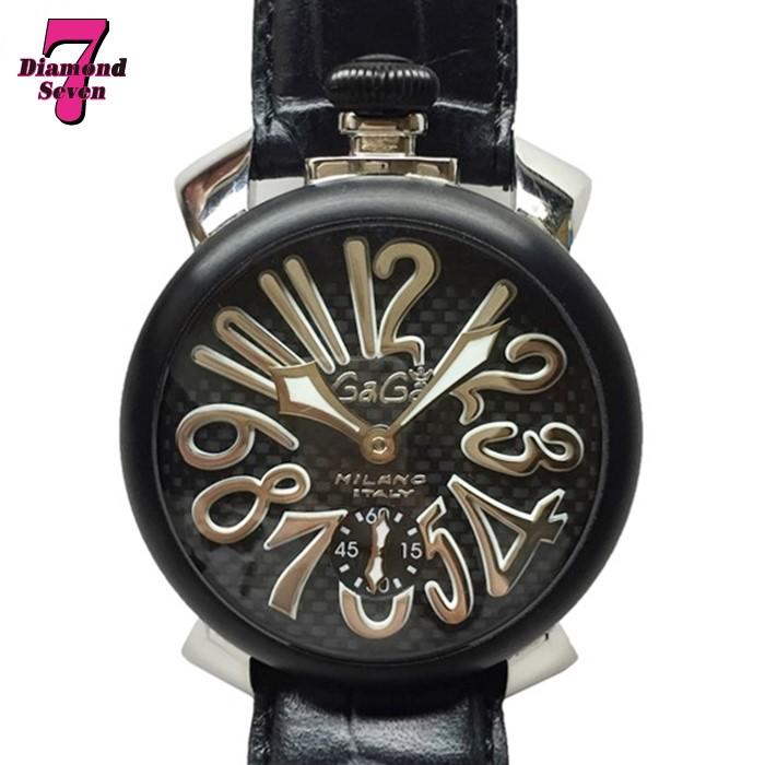送料無料【中古】GaGa MILANO ガガミラノ マヌアーレ48mm 手巻き MANUALE ブラック PVD カーボン レザー 腕時計 ユニセックス ファッション 裏スケ 人気 5013.01S