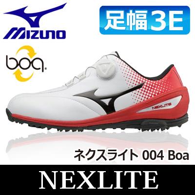 MIZUNO [ミズノ] NEXLITE [ネクスライト] 004 Boa メンズ ゴルフ スパイクレス シューズ 51GM1720 ホワイト/レッド