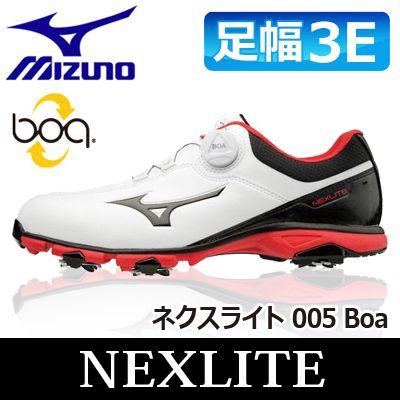 MIZUNO [ミズノ] NEXLITE [ネクスライト] 005 Boa メンズ ゴルフ シューズ 51GM1810 ホワイト/ブラック