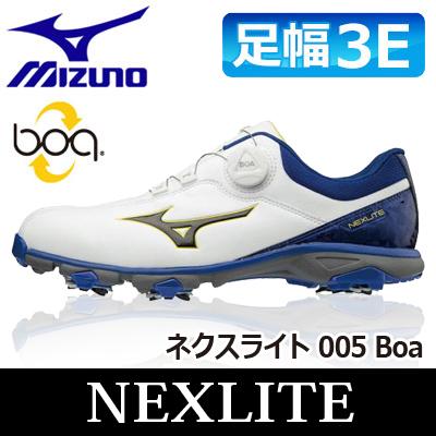 MIZUNO [ミズノ] NEXLITE [ネクスライト] 005 Boa メンズ ゴルフ シューズ 51GM1810 ホワイト/ブルー