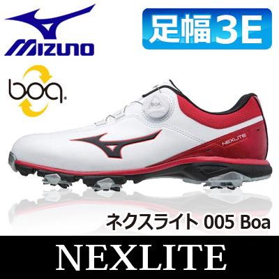 MIZUNO [ミズノ] NEXLITE [ネクスライト] 005 Boa メンズ ゴルフ シューズ 51GM1810 ホワイト/レッド