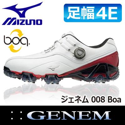 MIZUNO [ミズノ] GENEM [ジェネム] 008 Boa メンズ ゴルフ シューズ 51GQ1800 ホワイト/レッド