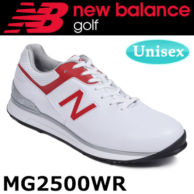 【即納】 NEW BALANCE GOLF [ニューバランス ゴルフ]ユニセックス ソフトスパイク シューレース ゴルフシューズ [ホワイト/レッド] MG2500
