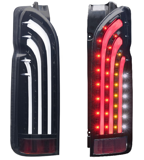 415 COBRA BAD TAIL 4 LED TAIL LAMP トヨタ ハイエース 200系用 カラー:インナーブラック/ライトスモークレンズ/ホワイトバー(BADTBKLSK4)【電装品】415コブラ バッドテール4型 LEDテールランプ