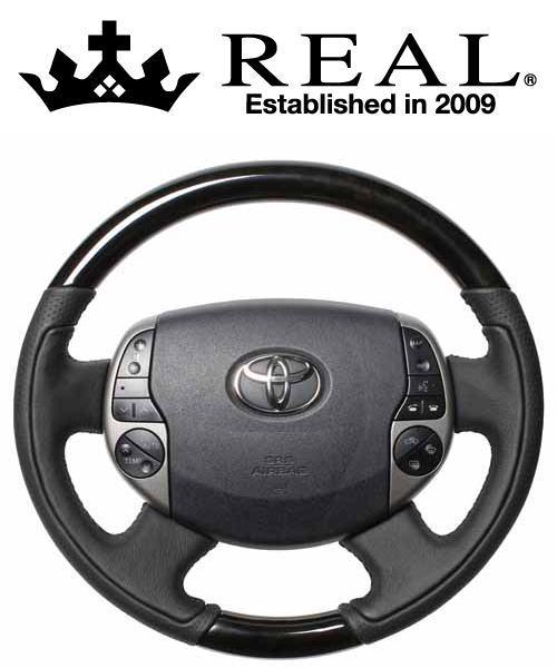 REAL STEERING オリジナルシリーズ トヨタ プリウス NHW20用 カラー:ブラックウッド (20-1-BKW)【ハンドル】レアル ステアリング