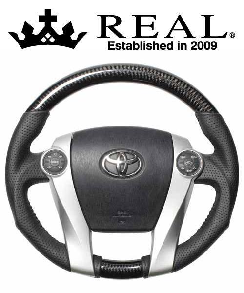 REAL STEERING オリジナルシリーズ トヨタ プリウス ZVW30用 カラー:ブラックカーボン (30-2-BKC)【ハンドル】レアル ステアリング