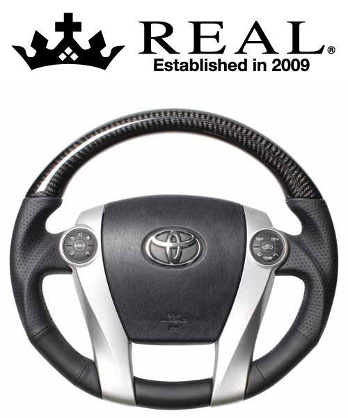 REAL STEERING プレミアムシリーズ トヨタ プリウス ZVW30用 カラー:ブラックカーボン(ブルー×シルバーユーロステッチ) (30-BS-BKC)【ハンドル】レアル ステアリング