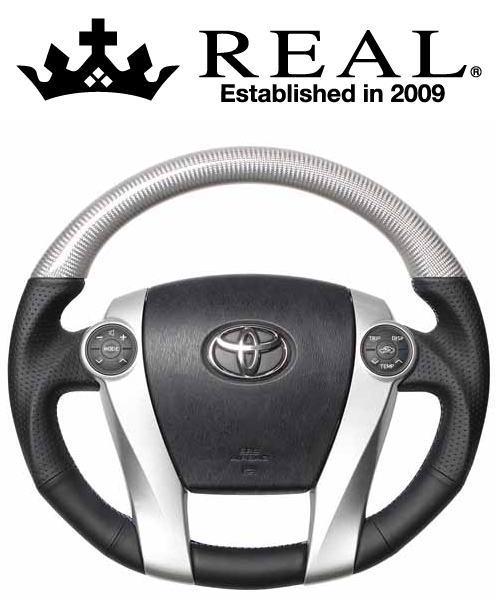 REAL STEERING プレミアムシリーズ トヨタ プリウス ZVW30用 カラー:シルバーカーボン (30-BST-SLC)【ハンドル】レアル ステアリング