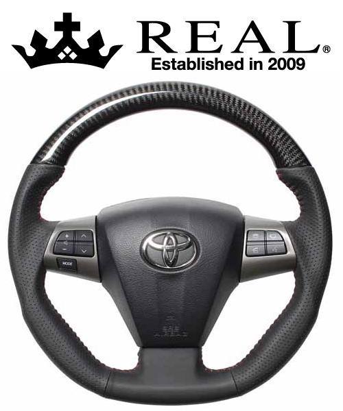 REAL STEERING オリジナルシリーズ トヨタ オーリス 後期 150系用 カラー:ブラックカーボン(レッドステッチ) (E20-BKC-RD)【ハンドル】レアル ステアリング