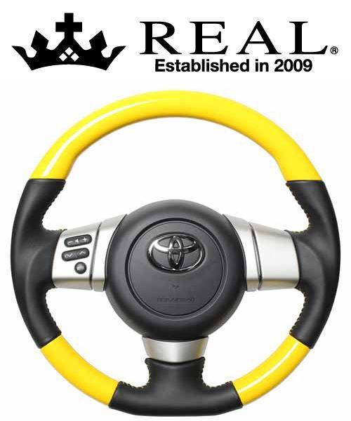 REAL STEERING オリジナルシリーズ トヨタ FJクルーザー GSJ15W用 カラー:イエローカラー (FJ-YW-YL)【ハンドル】レアル ステアリング