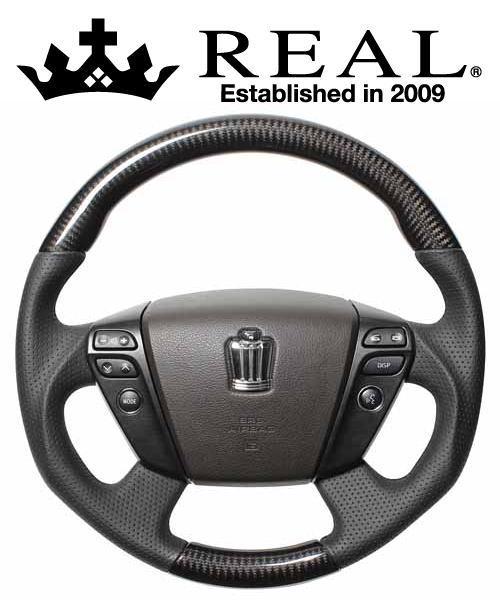 REAL STEERING オリジナルシリーズ トヨタ ヴェルファイア ハイブリッド ATH20W用 カラー:ブラックカーボン(ブラックユーロステッチ) (H20-BKC-BK)【ハンドル】レアル ステアリング
