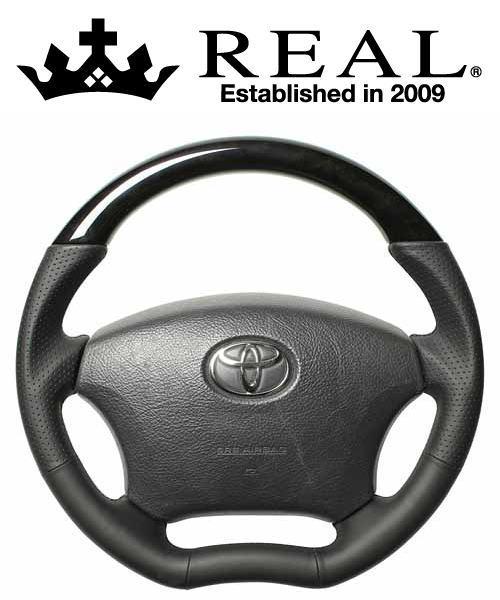 REAL STEERING オリジナルシリーズ トヨタ カムリ 後期 ACV30/ACV35用 カラー:ブラックウッド (H200-C-BKW-BK)【ハンドル】レアル ステアリング