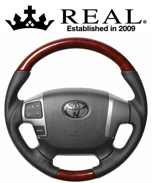 REAL STEERING オリジナルシリーズ ガングリップ純正同径 トヨタ ハイエース 4型 200系用 カラー:ブラウンウッド (H204-BRW-BK)【ハンドル】レアル ステアリング
