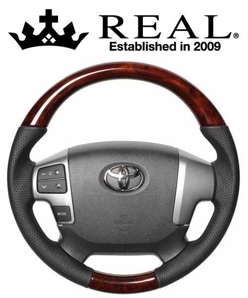 REAL STEERING オリジナルシリーズ ガングリップ小径 トヨタ レジアスエース 4型 200系用 カラー:ブラウンウッド (H214-BRW-BK)【ハンドル】レアル ステアリング