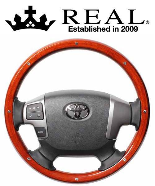 REAL STEERING オリジナルシリーズ オールウッド トヨタ レジアスエース 4型 200系用 カラー:ライトブラウンウッド/スタッド (J200-LBWM-BK)【ハンドル】レアル ステアリング
