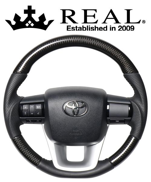 REAL STEERING オリジナルシリーズ トヨタ ハイラックス GUN125用 カラー:ブラックカーボン(ブラックステッチ) (N125-BKC-BK)【ハンドル】レアル ステアリング