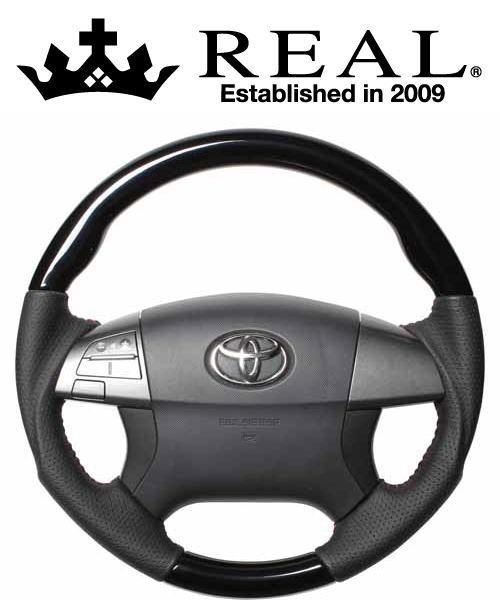 REAL STEERING オリジナルシリーズ トヨタ カローラアクシオ 140系用 カラー:ピアノブラック (R50-PBW-RD)【ハンドル】レアル ステアリング