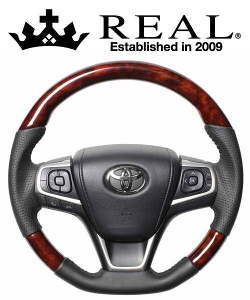 REAL STEERING オリジナルシリーズ トヨタ ハリアー 60系用 カラー:ブラウンウッド (R80-BRW-BK)【ハンドル】レアル ステアリング