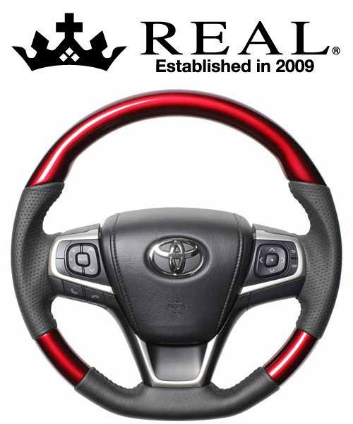 REAL STEERING オリジナルシリーズ トヨタ ハリアー 60系用 カラー:パールレッド (R80-RDW-BK)【ハンドル】レアル ステアリング