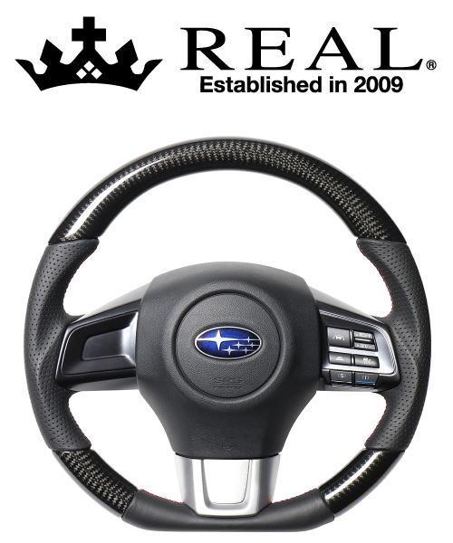 REAL STEERING オリジナルシリーズ スバル WRX STI VAB用 カラー:ブラックカーボン(レッド×ブラックユーロステッチ)(SBA-BKC-RD)【ハンドル】レアル ステアリング