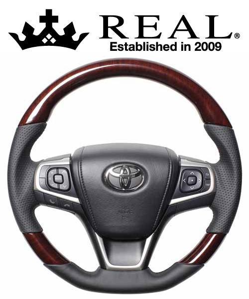 REAL STEERING プレミアムシリーズ トヨタ ノア 80系用 カラー:60ブラウンウッド (U60-BRW-BK)【ハンドル】レアル ステアリング