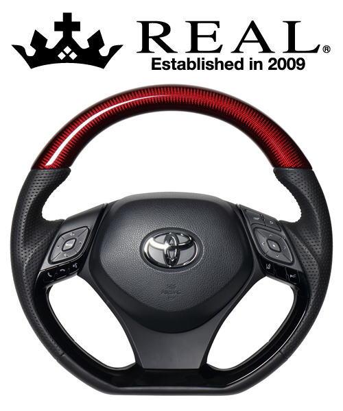 REAL STEERING オリジナルシリーズ コンビタイプ トヨタ C-HR ZYX10/NGX50用 カラー:レッドカーボン&ピアノブラックパネル (X10-RDC-PBP)【ハンドル】レアル ステアリング