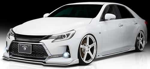 ROWEN PREMIUM Edition プレミアムスタイルキット(Carbon+FRP) 塗装済み トヨタ マークX G's GRX130/GRX133用 (1T010X01#)フロントリップ/Sステップ/リヤディフューザーのキット【エアロ】ロェン プレミアムエディション