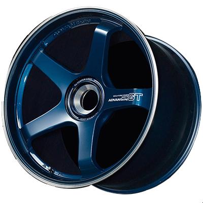ホイール: YOKOHAMA ADVAN Racing GT ホイールサイズ: 9.0J-20 & 11.5J-20 ホイールカラー: レーシングチタニウムブルー&リング(TBRP) 20インチ4本セット【ホイール単品】