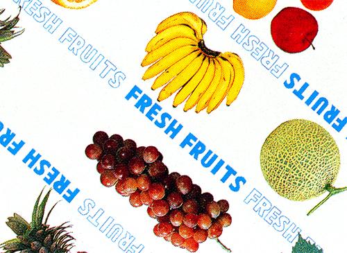 包装紙の種類は90柄以上 お好み ご用途に応じてお選びください フルーツ柄の包装紙です 本物◆ デラックスフルーツH半切 包装紙 日本正規品