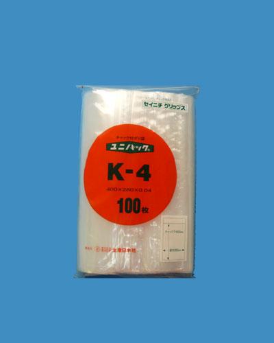 チャック付ポリ袋の中で最もよく使われているチャック付のポリエチレン袋です ユニパック 安い K-4 100枚入 (訳ありセール 格安)