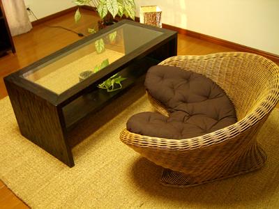 12月上旬入荷予定 アジアン家具 バリ (ATNガラスローテーブル&メディケーションチェア1人掛け SET) セット ローテーブル ラタンソファー 1人掛け エスニック リゾート