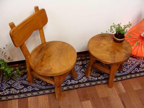 カフェテーブル セット 丸 ティーテーブル (ナチュラル ミニテーブル&チェアセット) アジアン家具 バリ ちゃぶ台 ベビーチェア 木製 チーク材 エスニック リゾート