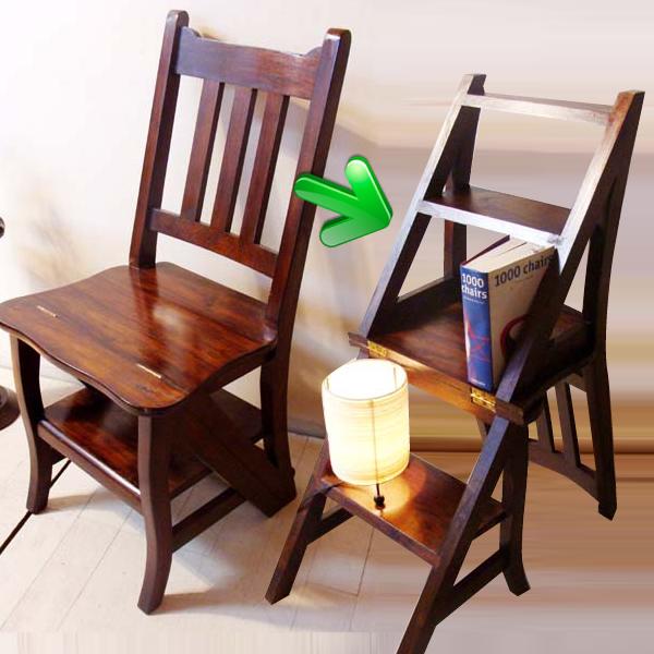 イス チェア 折りたたみ椅子 木製 (チーク ラダーステップチェア) アジアン家具 踏み台 椅子 イス ダイニングチェア ラダーラック 本棚 チーク材 エスニック リゾート