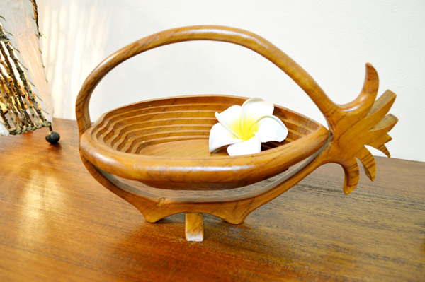 Bali Asian goods ♪ natural wood basket pineapple-shaped ♪ Caddy basket pot stand sculpture wood