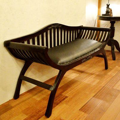 ベンチ ソファ チェア 木製 (カルティーニチェア(背付き・ラブサイズ)) アジアン家具 バリ アンティーク チーク材 エスニック リゾート