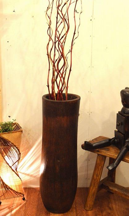 アジアン雑貨 バリ (マドラーヤシの壺) おしゃれ インテリア エスニック 花瓶 フラワーベース 置物 オブジェ インテリア エスニック リゾート