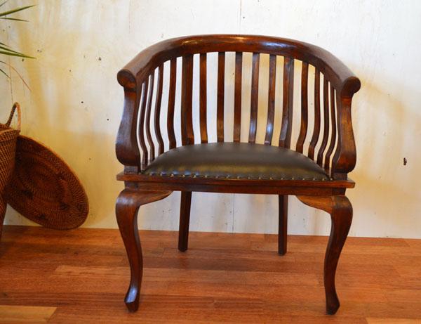 ダイニングチェア 肘付き 木製 無垢 (ラダーダイニングチェア) アジアン家具 椅子 バリ おしゃれ インテリア エスニック アームチェア 猫足 チーク材 リゾート
